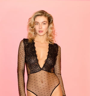 Sheer Lacy Long Sleeve Body Suit