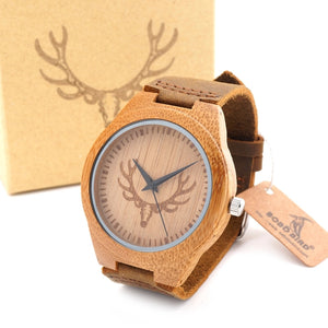 Men's Bamboo Wooden Bamboo Watch Quartz Real Leather Strap Men Watches With Gift Box