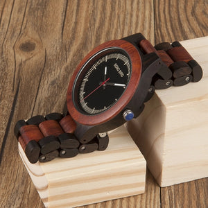 WO01O02 Wood Watch Ebony RedWood Pine Wooden Watches for Men Two-tone Wood Quartz Watch with Tool for Adjusting Size