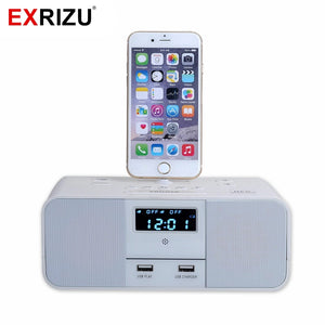 EXRIZU S6 Premium Hotel Home Charger Dock Stand Station 10W Mini Wireless Bluetooth Music Speaker for iPhone X/6/6s/7/8 Plus 5S