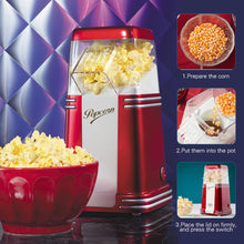 RHP310 Retro Series Electric Popper Household Mini Hot Air Popcorn Maker Popcorn Machine For Home Kitchen Kids
