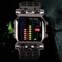 Futuristic Men's Fashion Binary LED Digital Wristwatch Date Square Dial Casual Plastic Strap Bracelet Watch lovely Style