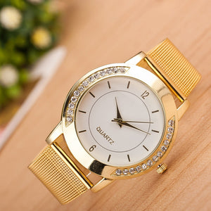 Luxury Fashion Women Crystal Gold Stainless Steel Quartz Analog Wrist Watch High Quality