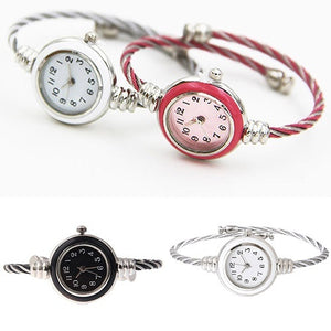 Lady's Steel Wire Quartz Analog Bracelet Bangle Wrist Watches