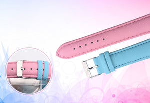 Retro Rainbow Design Leather Band Analog Alloy Quartz Wrist Watch