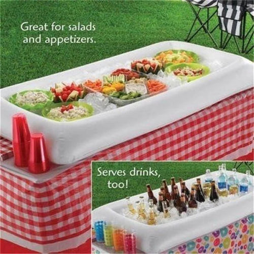 1 PC Inflatable Serving Bar Cooler Buffet Salad Food Drink Tray For Party Picnic Storage Trays Ice Cooler Picnic Drink Table