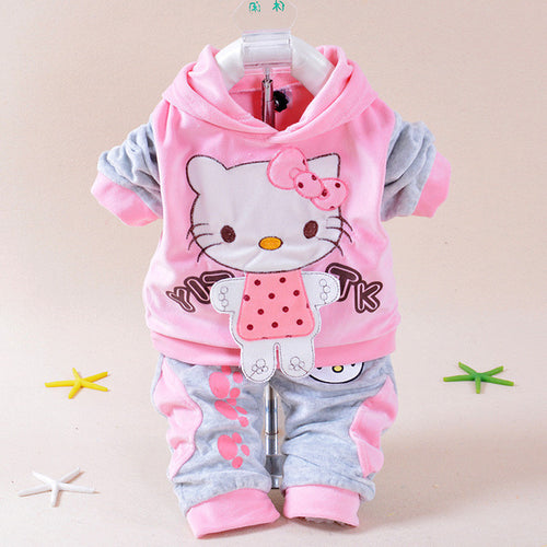 Velvety Hello Kitty Cartoon T Shirt Hoodies/ Pant Twinset