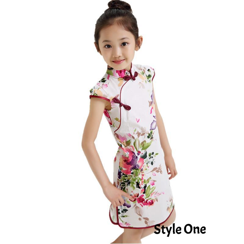 Summer Chinese Traditional Vintage Floral Pattern Girls Dress