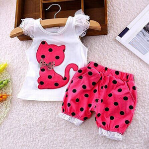 Pretty Kitty 2018 Summer Bow Cat Shirt+Shorts 2Pc