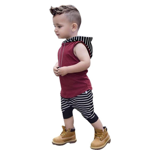 Little Man Hooded Vest Tops+Shorts 2Pc Set