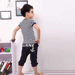 Marine Print Striped T-shirt And Pants 2 Pc Suits