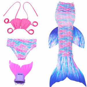 4pcs. MerGirl Tail Swimming Costume With Monofin