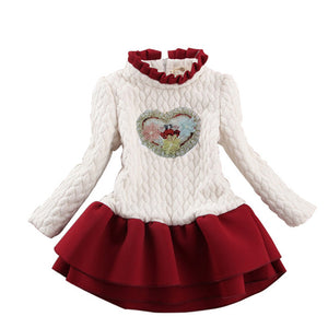 Ruffled Collar Thick Girls Dress Long Sleeve