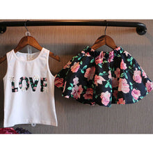 Love Letter 2pcs Children Tops+ Floral Skirt