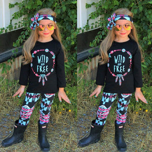 Rebel Girl T-shirt+Floral Pants w/ Headband
