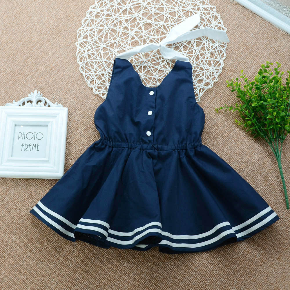 Lil' Ms. Navy Sleeveless Button Sundresse