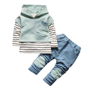 Denim Patchwork & Stripes 3 Pcs Hoodie Set