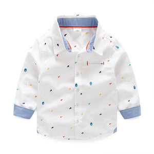 Handsome Boys Printed Oxford  Dress Shirt