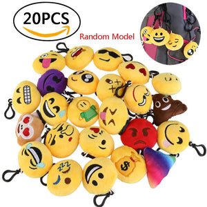 20pcs. Emoticon Pendant Set 2 Inch Mini Plush Pillow Keychain with Black Ring