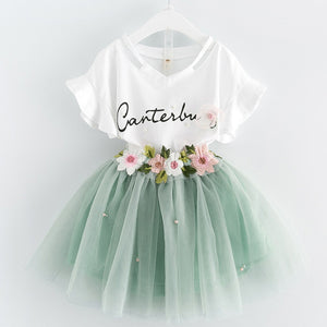 Pixie Pretty T-shirt+Floral Voile Dress/ 2Pcs