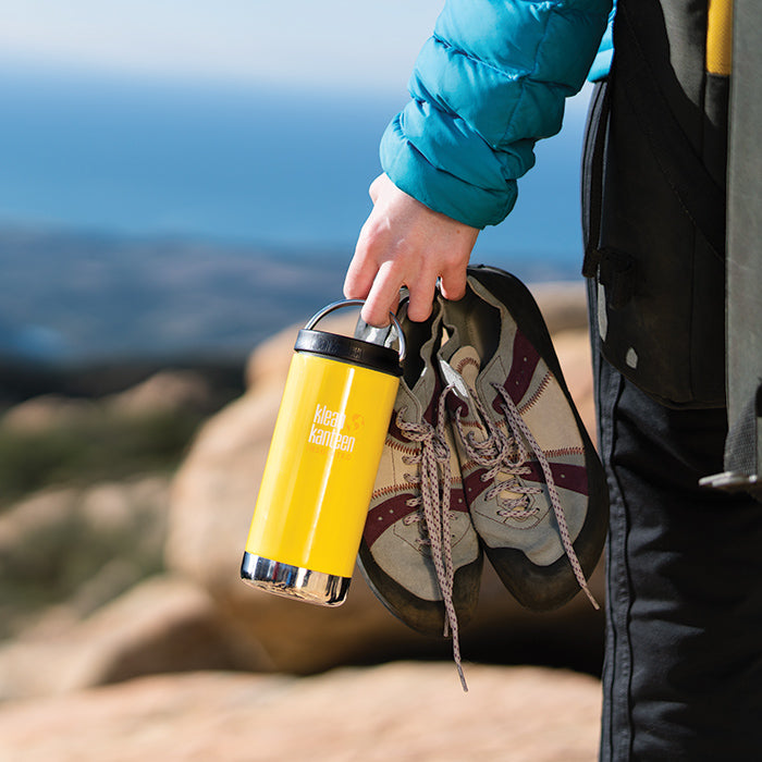 Person holding Klean Kanteen TKWide bottle standing on hilltop