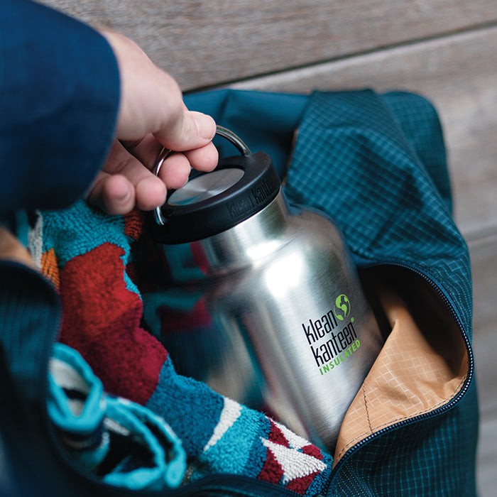 Klean Kanteen TKWide Loop Cap on bottle in swimming bag