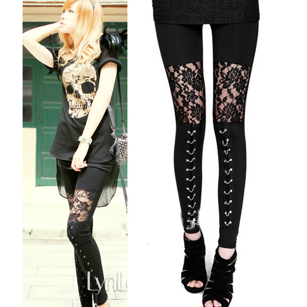 Gothic rock leggings with lace - 2 Styles
