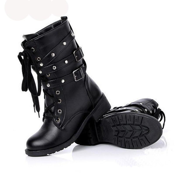 Punk Style Black Boot with Low Heel