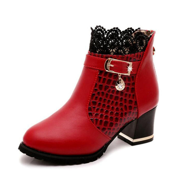 Thick Heel Ankle Boots with Lace