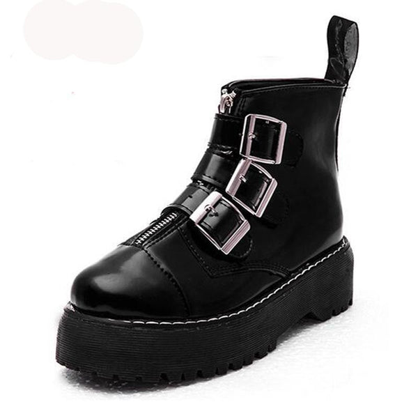 British Style Ankle Boots with Buckles