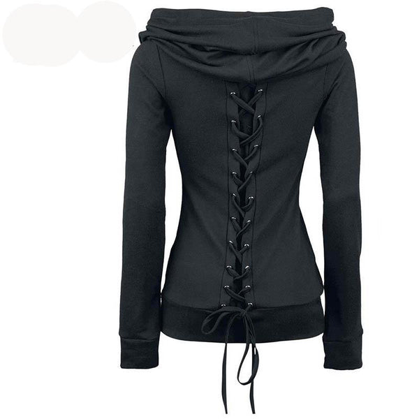Comfy Black Gothic Hoodie with Lace-Up Back and Heap Collar