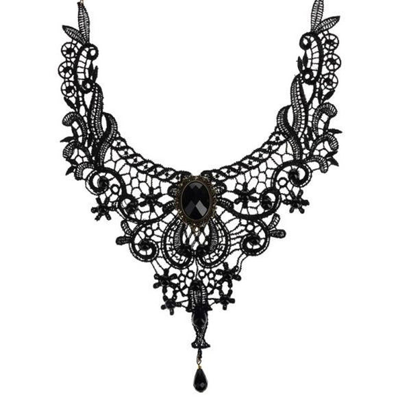 Vintage Lace Necklace with Fashion Gems