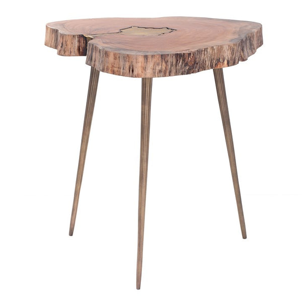 Petra Acacia Wood Molten Brass Inlay Side Table