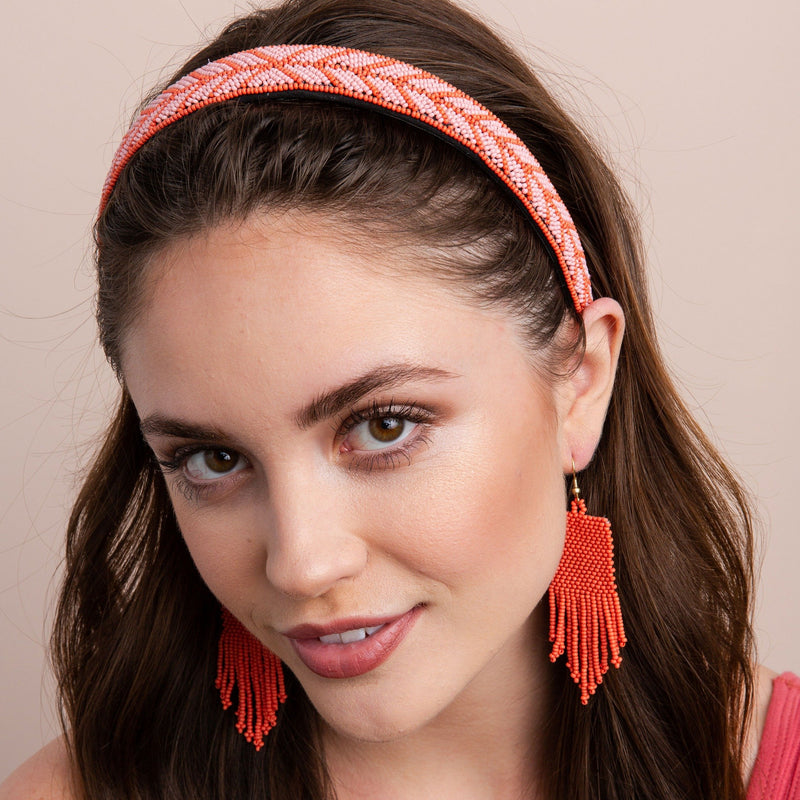 Pink and Coral Chevron Headband