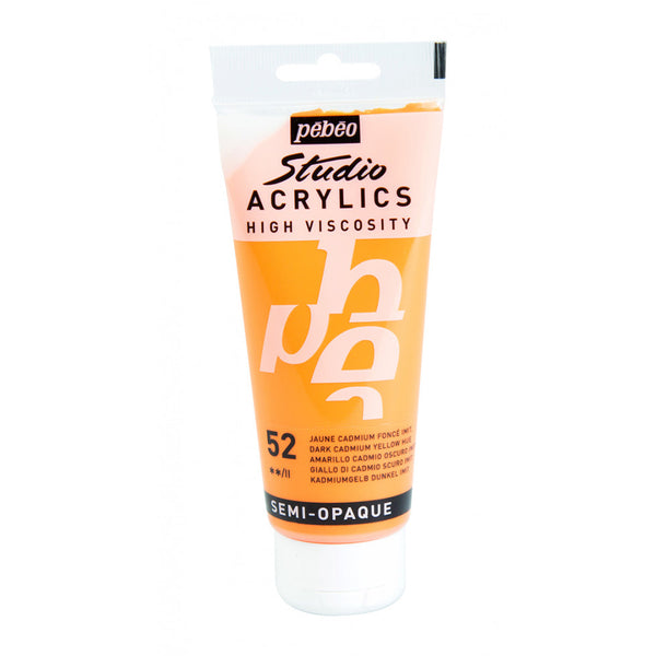 Pébéo Studio Acrylics 100 ml. - 52 Dark Cadmium Yellow Hue