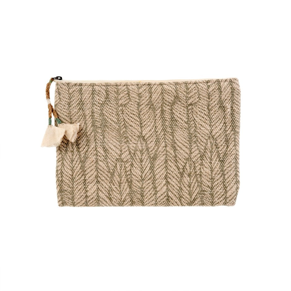 Heather Block Print Pouch - Green