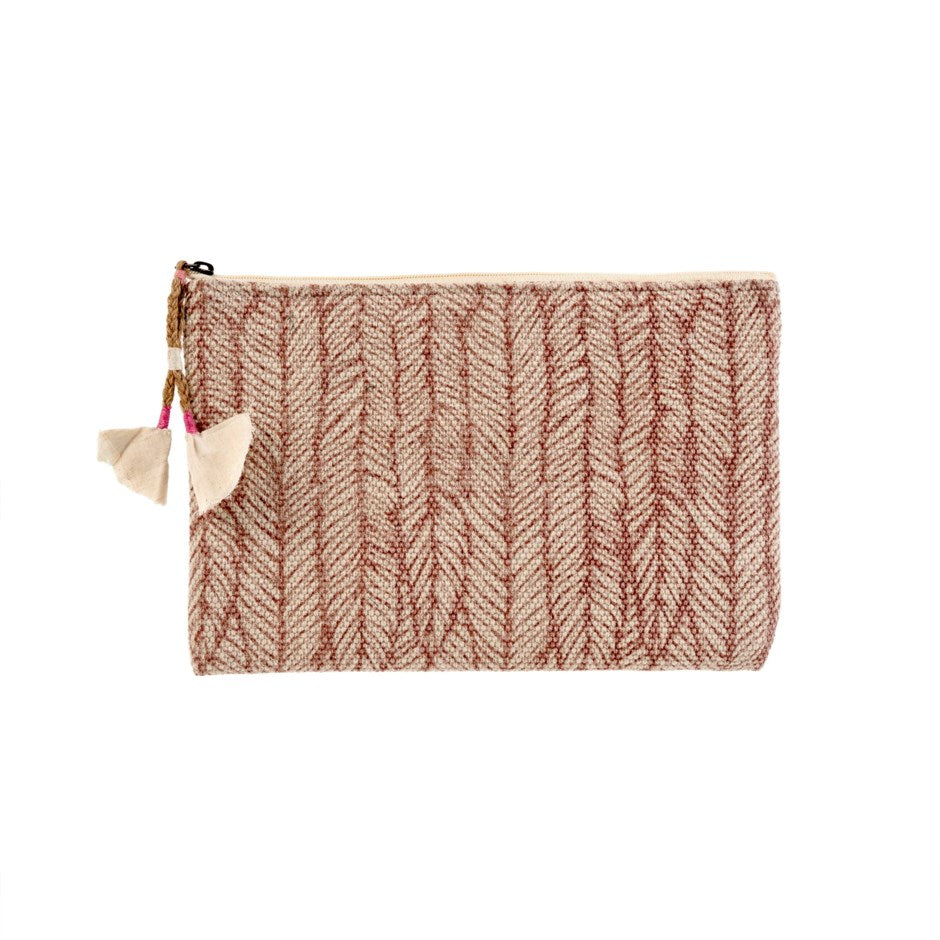 Heather Block Print Pouch - Pink