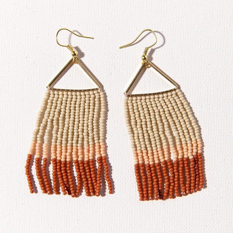 Rust Pink Ivory Color Block Fringe On Triangle Earring
