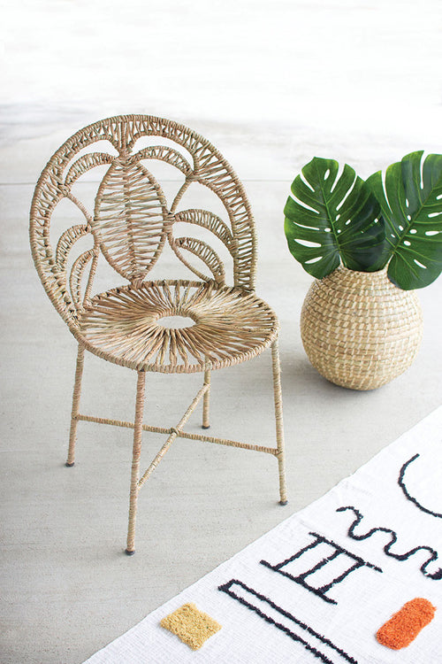 Woven Sea Grass & Iron Chair