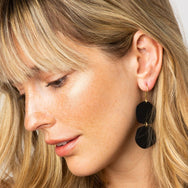 Black Brass Matte Double Circle Earring