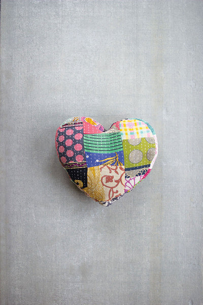 Kantha Heart Pillow