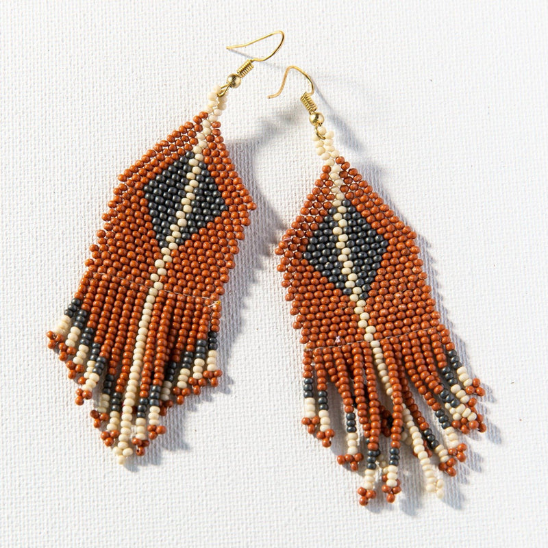 Rust Grey Ivory Diamond With Stripe Fringe Seed Bead Earring