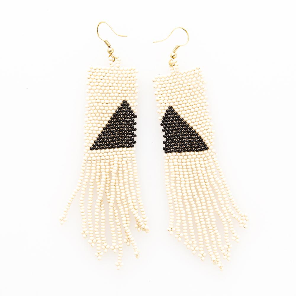 Ivory With Black Triangle Seed Bead Earring