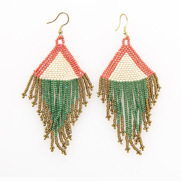 Terra Cotta Ivory Emerald Gold Seed Bead Earring