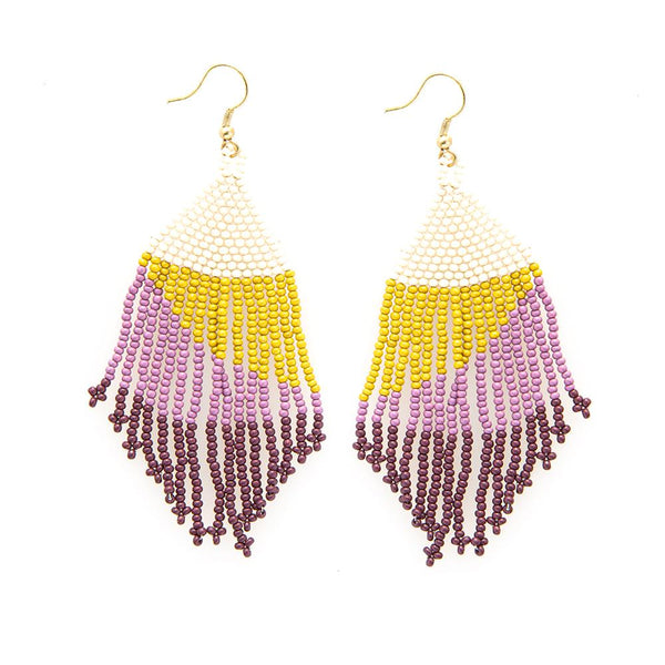 Lilac Ombre With Citron Seed Bead Earring