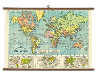 Vintage School Chart - World Map