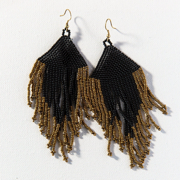 Black And Gold Fringe Seed Bead Earring