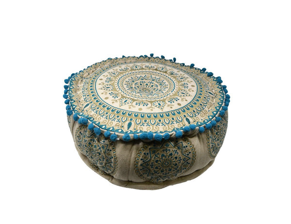 Blue and Brown Mandala Floor Pouffe