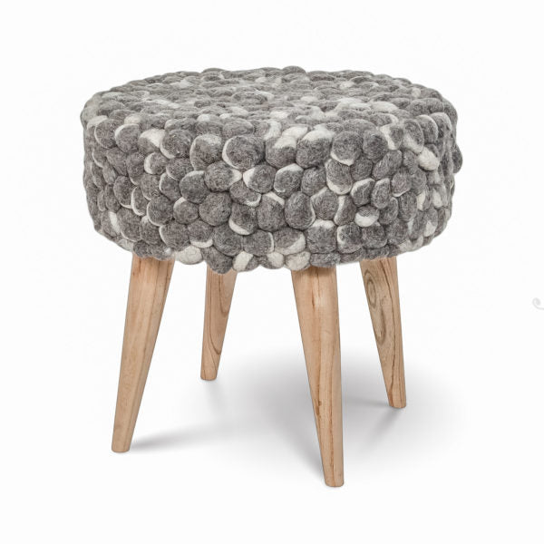 Bohemian Felted Wool Stool