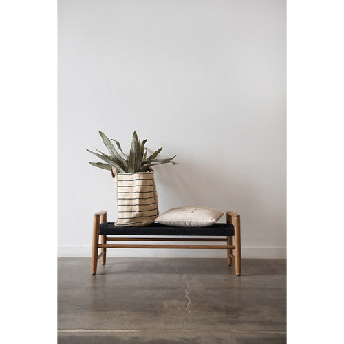 Teakwood Bench with Woven Seat